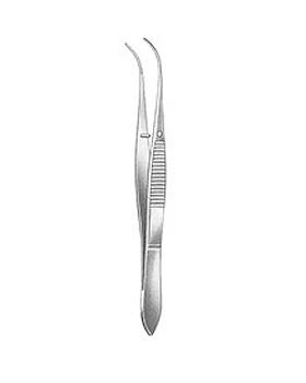Anatomische Pinzette, feines Modell, 10cm, leicht gebogen, mit Stift,, Allgaier Instrumente, medishop.de