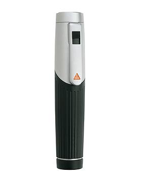 Batteriegriff HEINE mini 3000, 2,5V, schwarz, mit 2 Batterien IEC LR6, Größe AA, mit Lasergravur, Heine Optotechnik, medishop.de