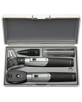 Diagnostik Set HEINE mini 3000 F.O., schwarz, mit 2 Batteriegriffen, Tips, Etui, Heine Optotechnik, medishop.de
