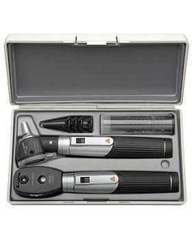 Diagnostik Set HEINE mini 3000 F.O., schwarz, mit 2 Batteriegriffen, Tips, Etui, Lasergravur, Heine Optotechnik, medishop.de