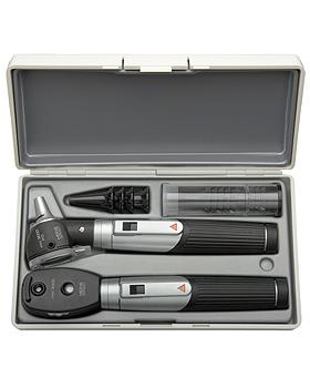 Diagnostik Set HEINE mini 3000, schwarz, mit 2 Batteriegriffen, Tips, Etui, Lasergravur, Heine Optotechnik, medishop.de