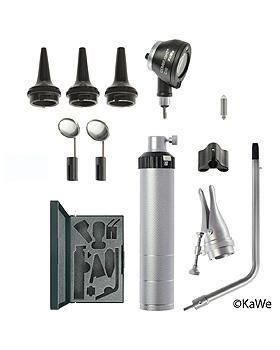 BASIC SET C10 Otoskop-Set, mit Otoskopf-Kopf COMBILIGHT C10, Batteriegriff und Zubehör, KaWe Germany, medishop.de