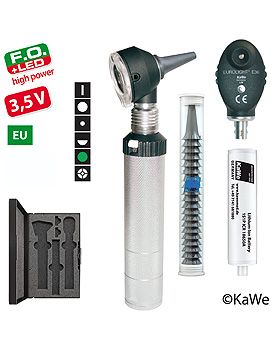 Diagnostik-Set, Otoskop COMBILIGHT F.O.30 LED und Ophthalmoskop EUROLIGHT E36 (EU) 3,5V, Ohrtrichter, KaWe Germany, medishop.de