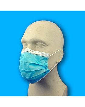 Einmal-Mundschutz, 3-lagig, blau mit elastischen Gummibändern, Typ II R, 50 Stück, medishop, medishop.de