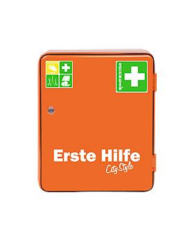 Verbandschrank HEIDELBERG, City Style, orange, mit Füllung Norm nach DIN 13157, Söhngen, medishop.de