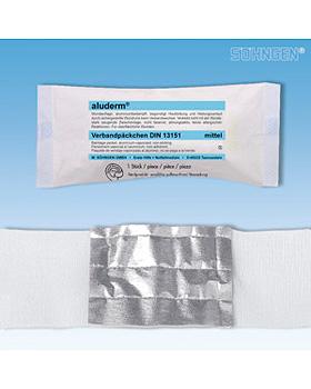 aluderm Verbandpäckchen DIN mittel 4 m x 8 cm Kompresse 8 x 10 cm, einzeln steril verpackt, Söhngen, medishop.de