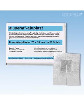 aluderm-aluplast Braunülenpflaster 70 x 53 mm, 20 Stück, Söhngen, medishop.de