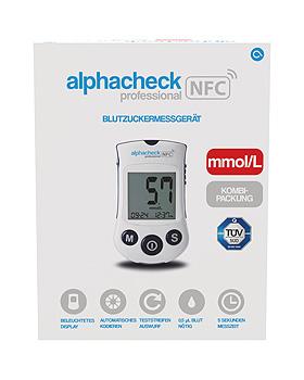 alphacheck professional NFC Blutzuckermessgerät Set mmol/l, Alphacheck, medishop.de