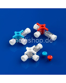 BD Connecta Plus 3 Dreiwegehahn, ohne Schlauch, blau, 100 Stück, Becton Dickinson, medishop.de