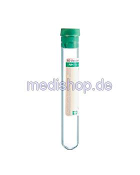 BD Vacutainer Plasmaröhrchen aus Glas, 17 IU Natrium-Heparin (100 Stck.), Becton Dickinson, medishop.de