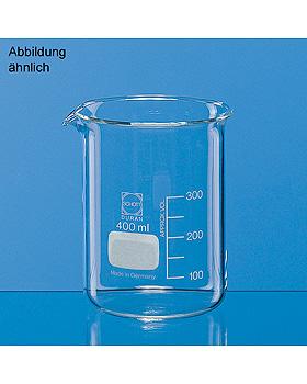 Becher, niedere Form, Boro 3.3, 250 ml, mit Teilung und Ausguss, 10 Stück, Brand/Merz & Co., medishop.de