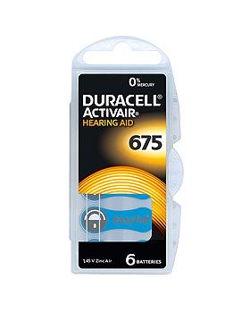 Batterie Typ Activair DA 675, 1,45 V für Hörgeräte, 6 Stück, Duracell, medishop.de