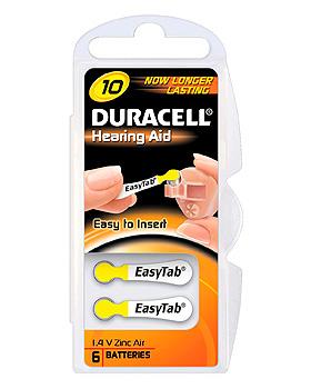 Batterie Typ Activair DA 230/10, 1,45 V für Hörgeräte, 6 Stück, Duracell, medishop.de