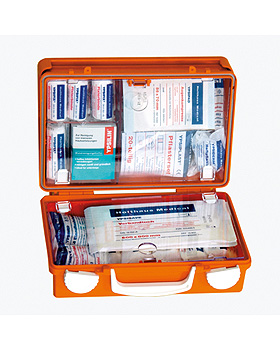 QUICK Erste-Hilfe-Koffer leer, 26 x 17 x 11 cm, orange, Holthaus Medical, medishop.de