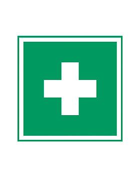 Rettungszeichen: Erste Hilfe, weiß/grün 200 x 200 mm, 10 Stück, Holthaus Medical, medishop.de
