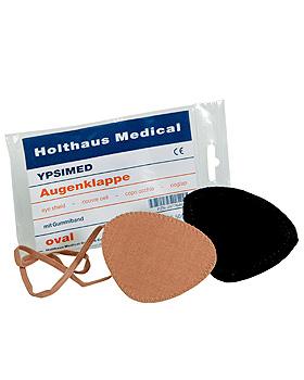 YPSIMED Augenklappe mit Gummiband, schwarz, oval, 10 Stück, Holthaus Medical, medishop.de