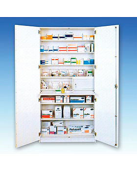 Aufbewahrungs- und Medikamentenschrank mit 2 Türen, weiß, 205 x 100 x 50 cm, Streckenlieferung, Lockweiler Werte, medishop.de