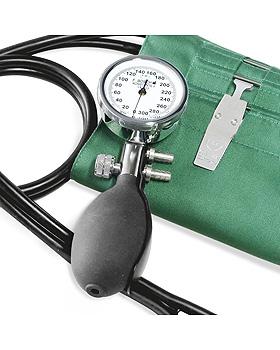 Konstante II Blutdruckmessger mit grüner Hakenmanschette, Metall verchromt, Friedrich Bosch, medishop.de