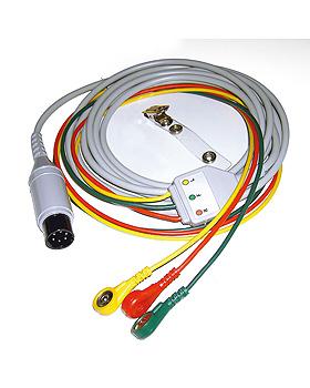 3-adriges EKG Kabel 3 m mit Ableitung, Druckknopf ICE, WelchAllyn, medishop.de
