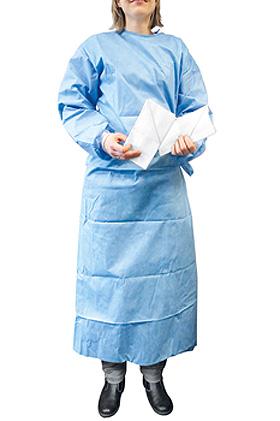 Einmal-OP-Kittel blau Gr. L, steril, inkl. 2 Handtücher, ratiomed, medishop.de