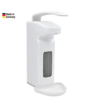 Armhebel-Dosierspender 500 / 1000 ml weiß, mit langem Hebel, ratiomed, medishop.de