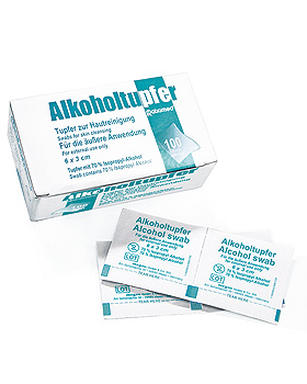Alkoholtupfer ratiomed 6 x 3 cm (100 Stck.), ratiomed, medishop.de