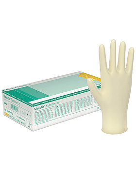 Manufix Sensitive U.-Handschuhe, PF, Latex, extra groß, 90 Stück, B.Braun, medishop.de