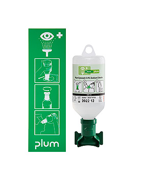 Plum Augenspülstation mit 1 Flasche, inkl. Wandhalter und Piktogramm, Plum Deutschland, medishop.de