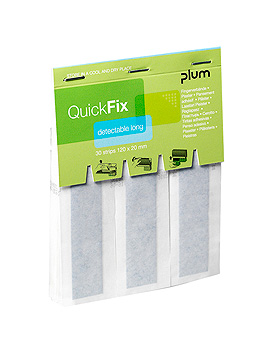 QuickFix Detectable long Refill Pflaster 12 x 2 cm (30 Strips), Plum Deutschland, medishop.de