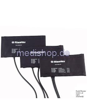 Klettenmanschette Erwachsene, 54,5 x 14,5 cm, 2-Schlauch, schwarz, Riester, medishop.de