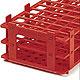 Reagenzglasgestell, PP, rot, für 21 Röhrchen bis Ø 30 mm, 5 Stück